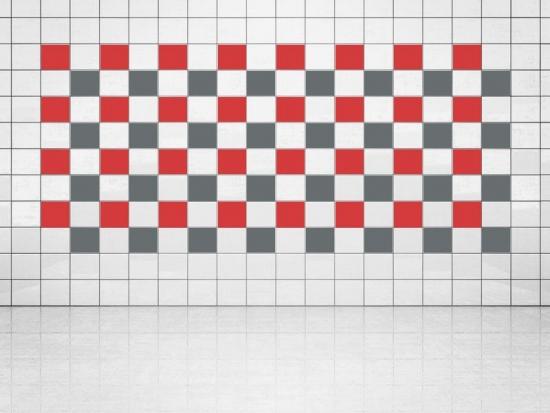 Fliesenaufkleber Grau (A720) und Leuchtrot (A737) 20er Set