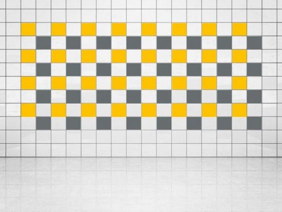 Fliesenaufkleber Grau (A720) und Sonnengelb (A706-01) 20er Set