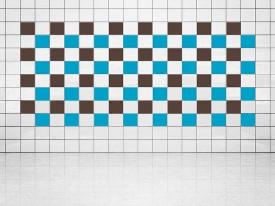 Fliesenaufkleber Himmelblau (A784) und Rehbraun (A777-049) 20er Set