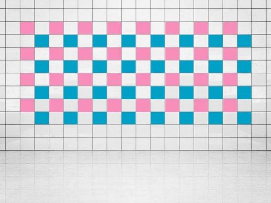 Fliesenaufkleber Himmelblau (A784) und Pink (A716) 20er Set