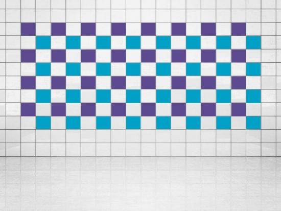Fliesenaufkleber Himmelblau (A784) und Violett (A717) 20er Set