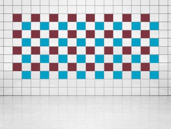 Fliesenaufkleber Himmelblau (A784) und Weinrot (A778) 20er Set