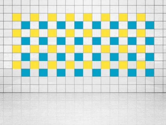 Fliesenaufkleber Himmelblau (A784) und Primelgelb (A707) 20er Set