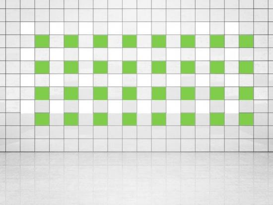 Fliesenaufkleber Lindgrün (A714-01) und Weiss (A700) 20er Set