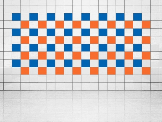 Fliesenaufkleber Orange (A705) und Blau (A733) 20er Set