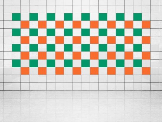 Fliesenaufkleber Orange (A705) und Grün (A756) 20er Set