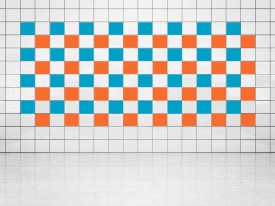 Fliesenaufkleber Orange (A705) und Himmelblau (A784) 20er Set