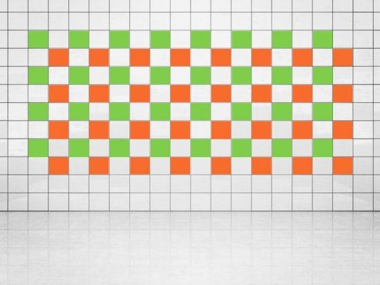 Fliesenaufkleber Orange (A705) und Lindgrün (A714-01) 20er Set