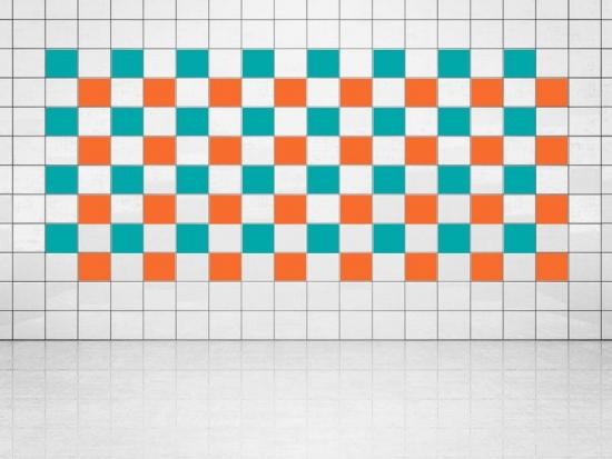 Fliesenaufkleber Orange (A705) und Türkis (A731) 20er Set
