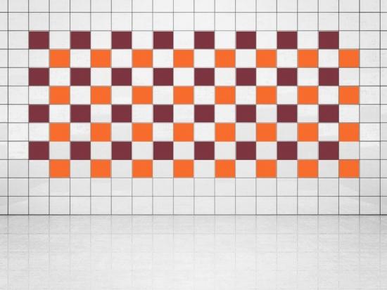 Fliesenaufkleber Orange (A705) und Weinrot (A778) 20er Set