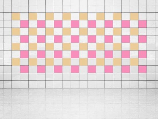 Fliesenaufkleber Pink (A716) und Creme (A719-01) 20er Set