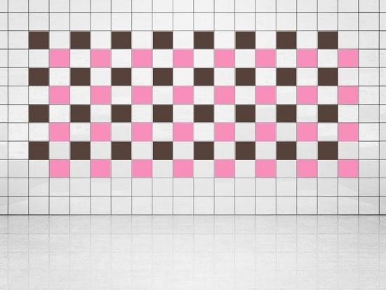 Fliesenaufkleber Pink (A716) und Rehbraun (A777-049) 20er Set