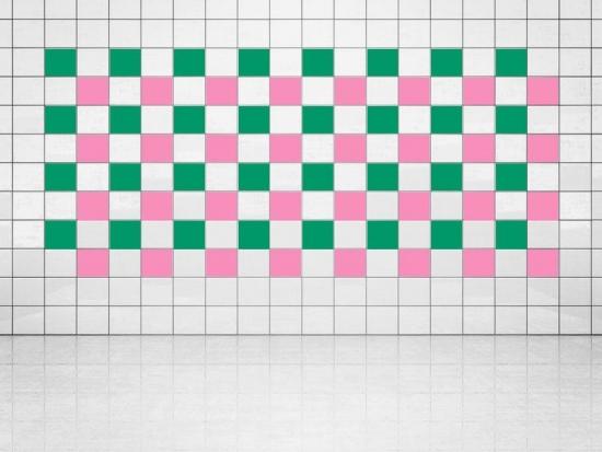Fliesenaufkleber Pink (A716) und Grün (A756) 20er Set