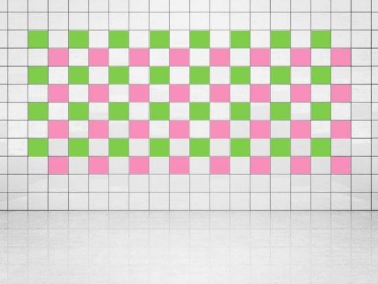 Fliesenaufkleber Pink (A716) und Lindgrün (A714-01) 20er Set