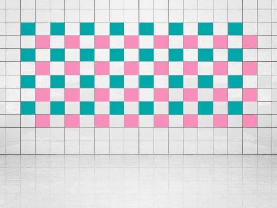 Fliesenaufkleber Pink (A716) und Türkis (A731) 20er Set