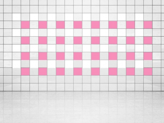 Fliesenaufkleber Pink (A716) und Weiss (A700) 20er Set