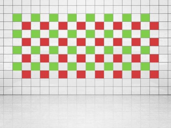 Fliesenaufkleber Leuchtrot (A737) und Lindgrün (A714-01) 20er Set