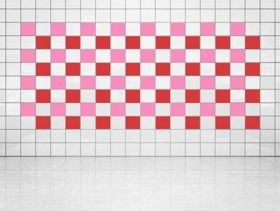 Fliesenaufkleber Leuchtrot (A737) und Pink (A716) 20er Set