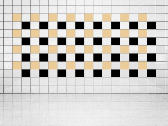 Fliesenaufkleber Schwarz (A701) und Creme (A719-01) 20er Set