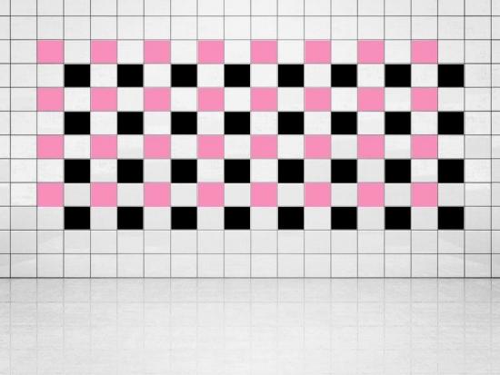 Fliesenaufkleber Schwarz (A701) und Pink (A716) 20er Set