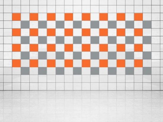 Fliesenaufkleber Silber Metallic (A835) und Orange (A705) 20er Set