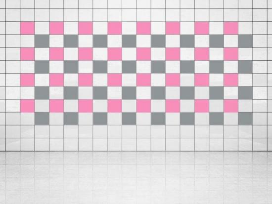 Fliesenaufkleber Silber Metallic (A835) und Pink (A716) 20er Set