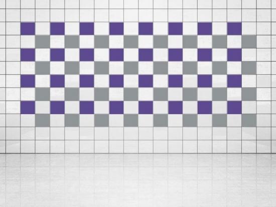 Fliesenaufkleber Silber Metallic (A835) und Violett (A717) 20er Set