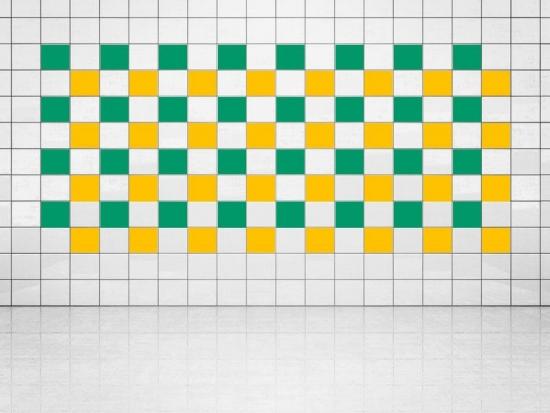 Fliesenaufkleber Sonnengelb (A706-01) und Grün (A756) 20er Set