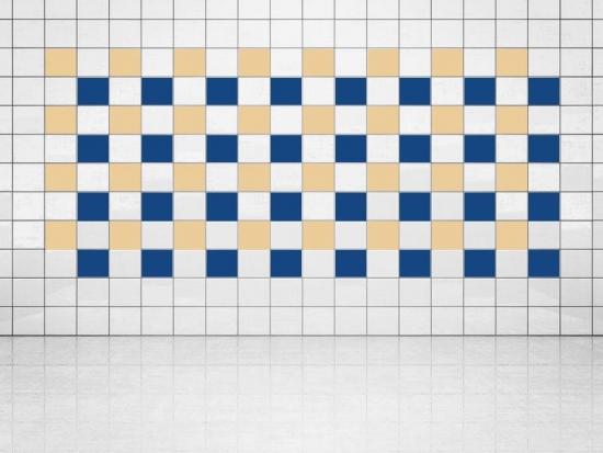 Fliesenaufkleber Ultramarinblau (A752) und Creme (A719-01) 20er Set