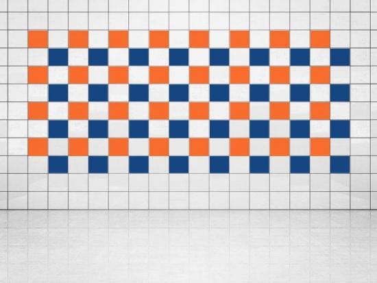 Fliesenaufkleber Ultramarinblau (A752) und Orange (A705) 20er Set