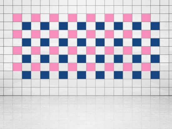 Fliesenaufkleber Ultramarinblau (A752) und Pink (A716) 20er Set