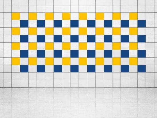 Fliesenaufkleber Ultramarinblau (A752) und Sonnengelb (A706-01) 20er Set
