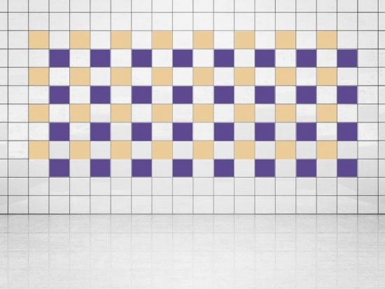 Fliesenaufkleber Violett (A717) und Creme (A719-01) 20er Set