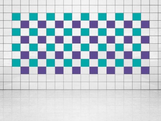 Fliesenaufkleber Violett (A717) und Türkis (A731) 20er Set