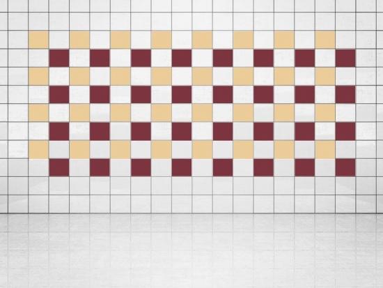 Fliesenaufkleber Weinrot (A778) und Creme (A719-01) 20er Set