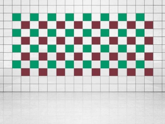 Fliesenaufkleber Weinrot (A778) und Grün (A756) 20er Set