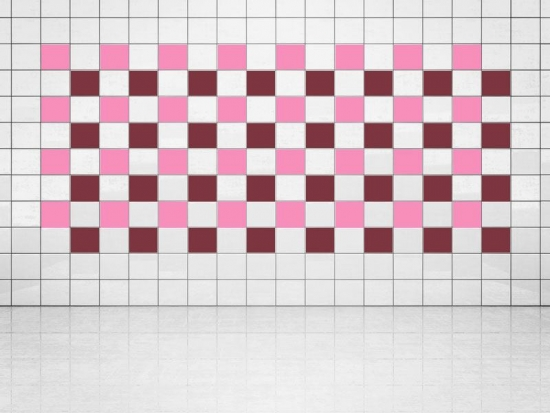 Fliesenaufkleber Weinrot (A778) und Pink (A716) 20er Set