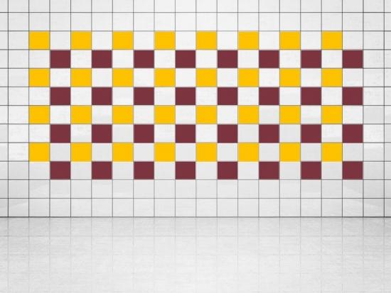 Fliesenaufkleber Weinrot (A778) und Sonnengelb (A706-01) 20er Set