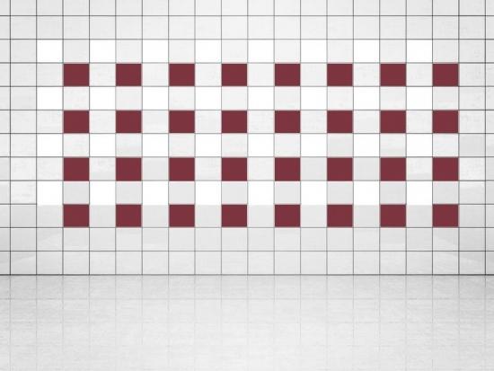 Fliesenaufkleber Weinrot (A778) und Weiss (A700) 20er Set