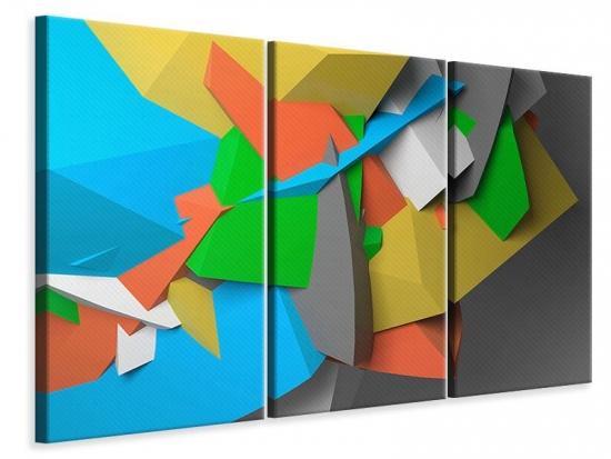 Leinwandbild 3-teilig 3D-Geometrische Figuren
