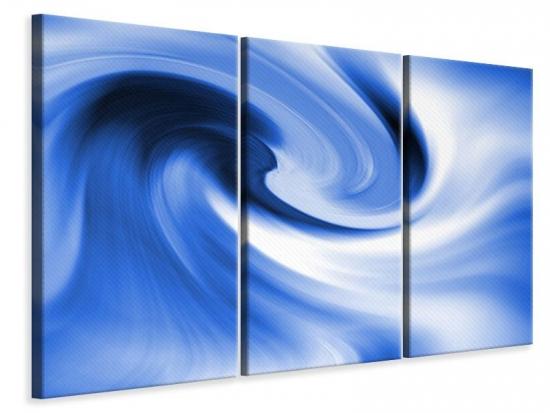 Leinwandbild 3-teilig Abstrakte blaue Welle