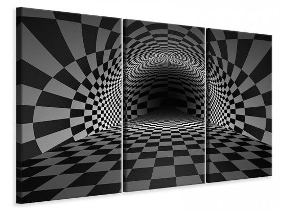 Leinwandbild 3-teilig Abstraktes Schachbrett