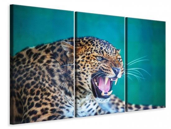 Leinwandbild 3-teilig Achtung Leopard