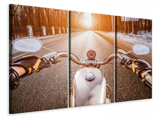 Leinwandbild 3-teilig Auf dem Motorrad
