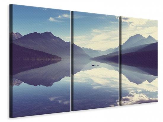 Leinwandbild 3-teilig Bergspiegelung