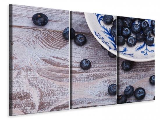 Leinwandbild 3-teilig Blaubeeren