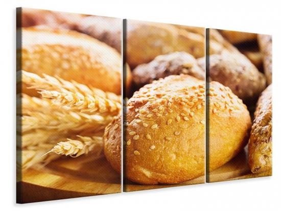 Leinwandbild 3-teilig Brötchen