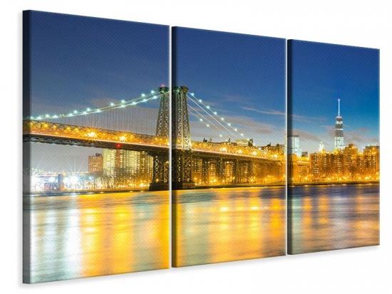 Leinwandbild 3-teilig Brooklyn Bridge bei Nacht