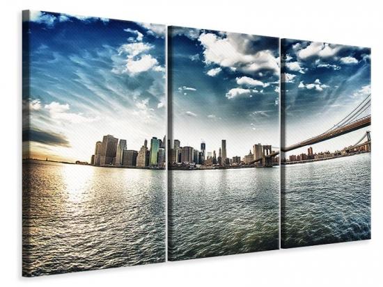 Leinwandbild 3-teilig Brooklyn Bridge From The Other Side