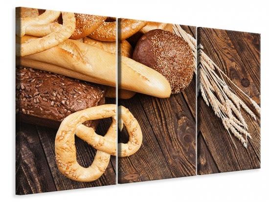 Leinwandbild 3-teilig Brot und Bretzel